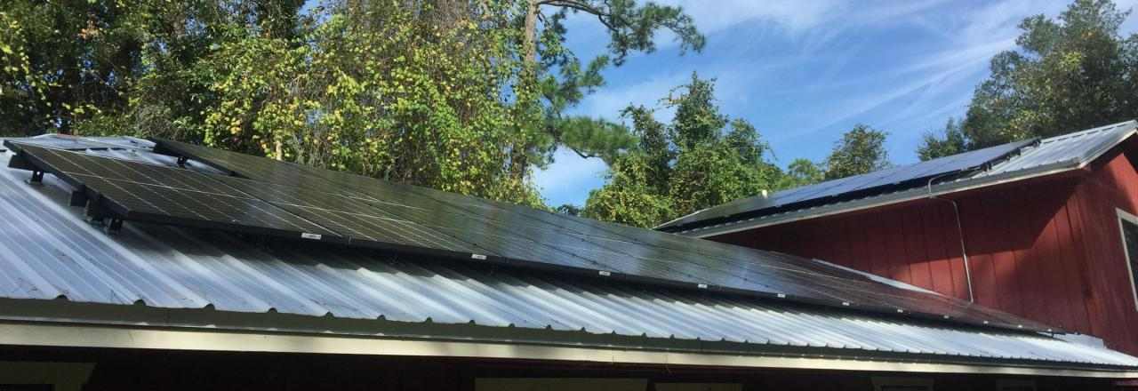 Black solar panels on a roof