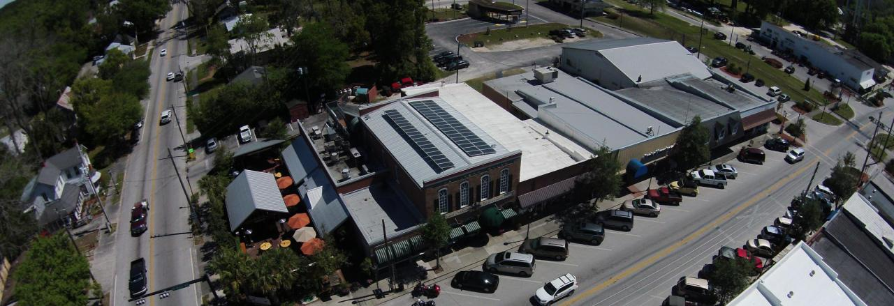 Solar array on building in downtown High Springs