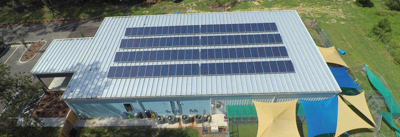 Black solar panels on a building
