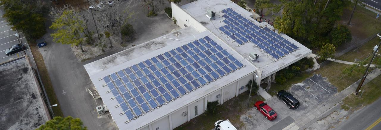 Commercial solar panels on a building