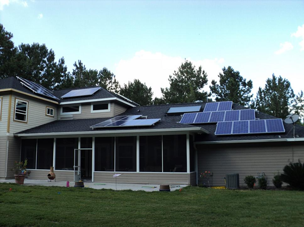 PV solar system on residential roof