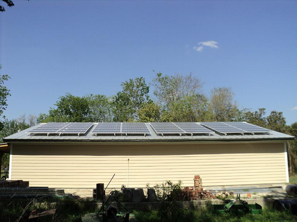 roof mounted solar panel system residential home