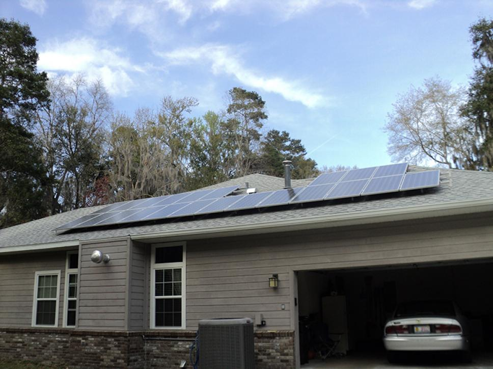 solar panel installation on residential grey roof