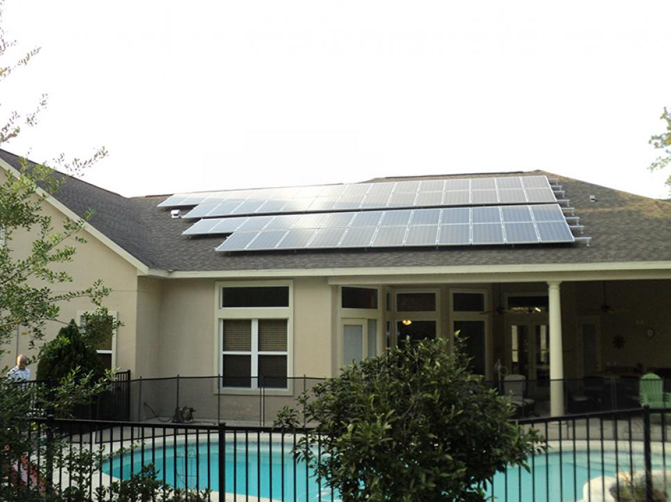 Solar pv system on Home with Pool